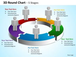 3d round chart 5 stages powerpoint diagrams presentation slides graphics 0912