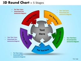 3D Round Chart 5 Stages Powerpoint Slides And Ppt Templates 0412