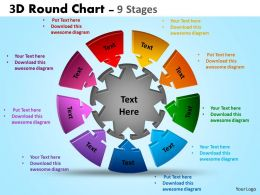 3D Round Chart 9 Stages diagram Templates 3