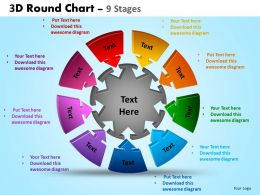 3D Round Chart 9 Stages Powerpoint Slides And Ppt Templates 0412