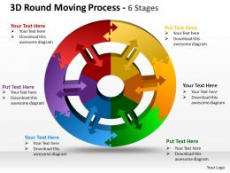 3d round moving process 6 stages powerpoint templates graphics slides 0712