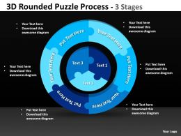 3D Rounded Puzzle Process 3 Stages Powerpoint templates 0812