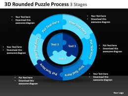 3D Rounded Puzzle Process 3 Stages Powerpoint templates ppt presentation slides 0812