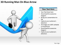 3D Running Man On Blue Arrow Ppt Graphics Icons