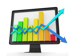3d Screen On Bar Graph Growth Arrow Stock Photo