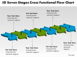 3D Seven Stages Cross Functional Flow Chart Customer Tech Support Powerpoint Slides