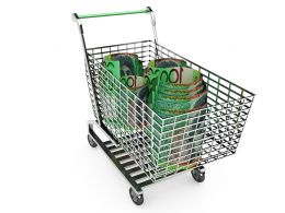 3D Shopping Cart With Hundred Dollar Note Stock Photo