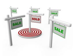 3d Sign Board With Sale Word With Target Dart In Centre Stock Photo