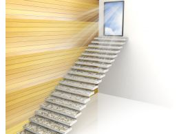3D Stairs Towards Door With Way Out Stock Photo