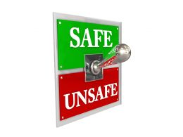 3D Switch Showing Safe Vs Unsafe Concept Stock Photo
