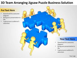 3D Team Arranging Jigsaw Puzzle Business Solution Ppt Graphics Icons Powerpoint
