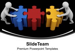 3d Team Connecting Puzzles Business Powerpoint Templates Ppt Themes And Graphics 0113