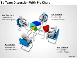 3D Team Discussion With Pie Chart Ppt Graphics Icons
