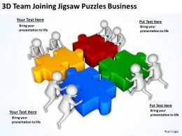 3D Team Joining Jigsaw Puzzles Business Ppt Graphics Icons Powerpoint