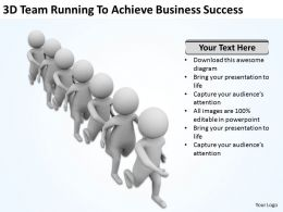 3D Team Running To Achieve Business Success Ppt Graphics Icons Powerpoint