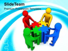 3d Team Solving Puzzles Powerpoint Templates PPT Themes And Graphics 0113