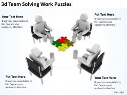 3D Team Solving Work Puzzles Ppt Graphics Icons