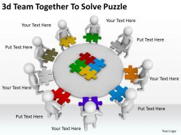 3d Team Together To Solve Puzzle Ppt Graphics Icons Powerpoint