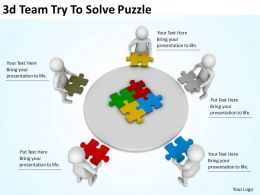 3d Team Try To Solve Puzzle Ppt Graphics Icons Powerpoint