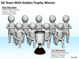 3D Team With Golden Trophy Winner Ppt Graphics Icons Powerpoint