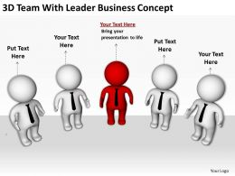 3D Team With Leader Business Concept Ppt Graphics Icons Powerpoint