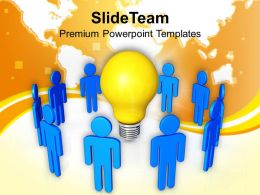 3d Team With Yellow Bulb Powerpoint Templates PPT Themes And Graphics 0113