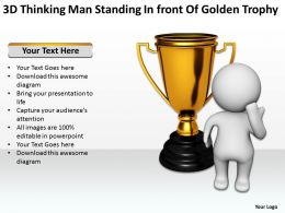 3D Thinking Man Standing In front Of Golden Trophy Ppt Graphic Icon