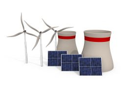 3D Three Windmills With Solar Panel Stock Photo
