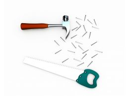 3d Tools Like Handsaw Hammer And Nails Stock Photo