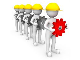 3d Trademen In Series With Gears In Hand One Red Gear For Leadership Stock Photo
