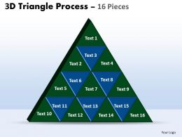 3D triangle process 16 pieces powerpoint slides and ppt templates 0412