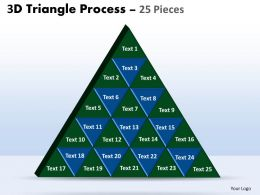 3D triangle process 25 pieces powerpoint slides and ppt templates 0412