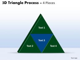3D triangle process 4 pieces powerpoint slides and ppt templates 0412