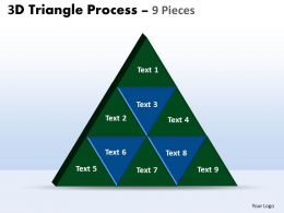 3D triangle process 9 pieces powerpoint slides and ppt templates 0412