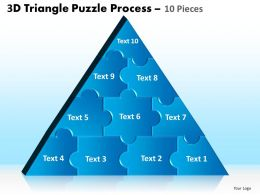 3D Triangle Puzzle Process 10 Pieces Powerpoint Slides And Ppt Templates 0412