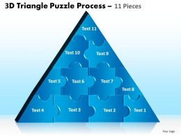 3D Triangle Puzzle Process 11 Pieces Powerpoint Slides And Ppt Templates 0412