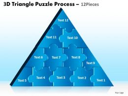 3D Triangle Puzzle Process 12 Pieces Powerpoint Slides And Ppt Templates 0412