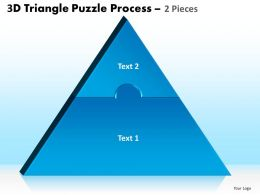 3D Triangle Puzzle Process 2 Pieces Powerpoint Slides And Ppt Templates 0412