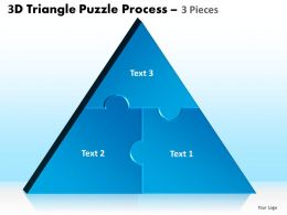 3D Triangle Puzzle Process 3 Pieces Powerpoint Slides And Ppt Templates 0412