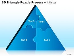 3D Triangle Puzzle Process 4 Pieces Powerpoint Slides And Ppt Templates 0412