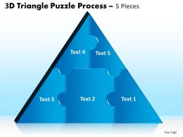 3D Triangle Puzzle Process 5 Pieces Powerpoint Slides And Ppt Templates 0412