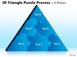 3D Triangle Puzzle Process 6 Pieces Powerpoint Slides 98