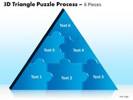 3D Triangle Puzzle Process 6 Pieces Powerpoint Slides And Ppt Templates 0412