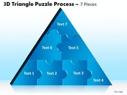 3D Triangle Puzzle Process 7 Pieces Powerpoint Slides And Ppt Templates 0412