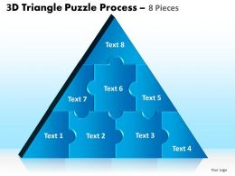 3D Triangle Puzzle Process 8 Pieces Powerpoint Slides And Ppt Templates 0412