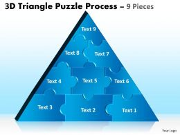 3D Triangle Puzzle Process 9 Pieces Powerpoint Slides 2