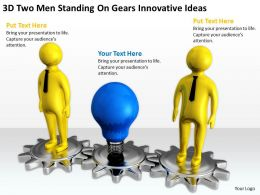 3D Two Men Standing On Gears Innovative Ideas Ppt Graphics Icons Powerpoin