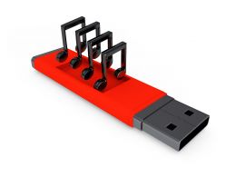 3d Usb With Music Nodes For Celebration Stock Photo