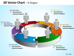 3d vector chart 6 stages powerpoint diagrams presentation slides graphics 0912