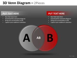 3D Venn Diagram 2 and 3 Powerpoint Presentation Slides DB